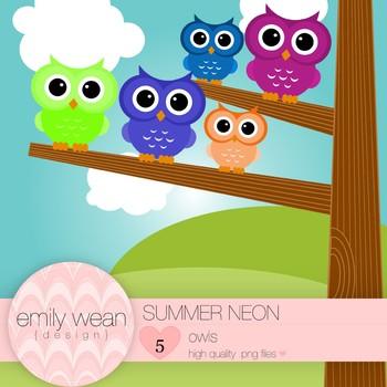 Summer Neon - Owl Clip Art