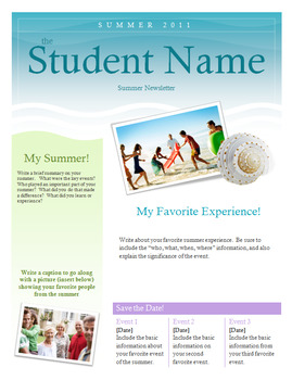 summer newsletter template assignment for back to school tpt