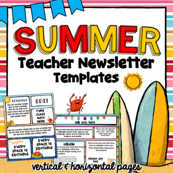 summer newsletter templates editable by txteach22 tpt