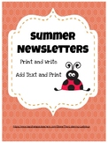 Summer Newsletters & Notes-Editable