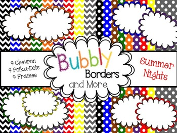 Summer Nights Primary Set-Chevron &Polkadots backgrounds with frames!