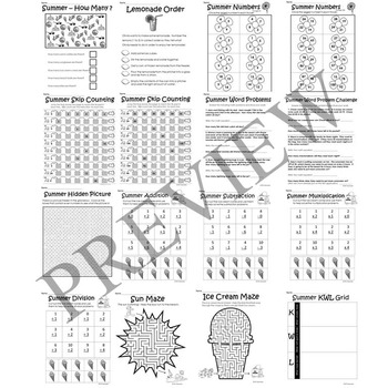 Summer No Prep Literacy and Math Activity Packet for Grade 2 3 4 or 5 Worksheets