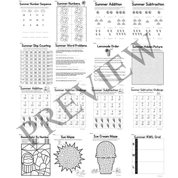 Summer No Prep Literacy and Math Activity Packet for Grade K or 1 Worksheets