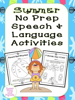 Summer No-Prep Speech & Language Activities