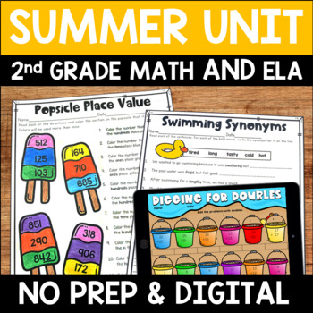 Summer Literacy and Math No Prep Bundle for Second Grade