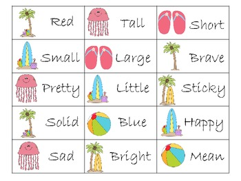 Summer Noun Adjective Word Sort - Common Core