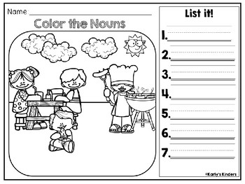 Summer Noun & Verb Color it