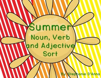 Summer Noun, Verb and Adjective Sort #easterbunny