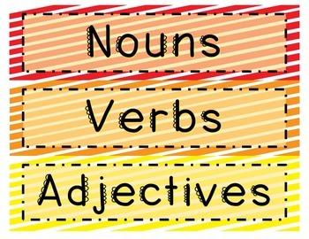 Nouns Verbs and Adjectives Sort Bundled