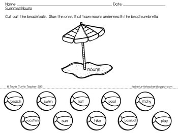 Summer Nouns, Adjectives, & Verbs - Worksheets and Center Activity
