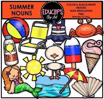 Summer Nouns Clip Art Bundle {Educlips Clipart}