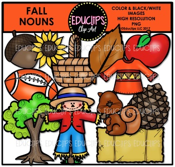 Fall/Autumn Nouns Clip Art Bundle {Educlips Clipart}