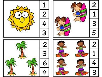 Summer Number Clip Cards