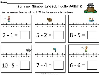 Summer Number Line Addition & Subtraction Within 10