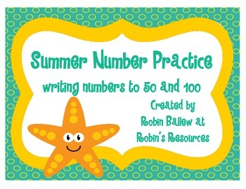 Writing Numbers to 50 and 100 Summer Themed Worksheets