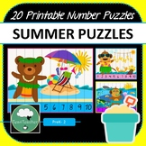 Summer Number Puzzles - 20 Summer Puzzles 1-10 + Times Tables
