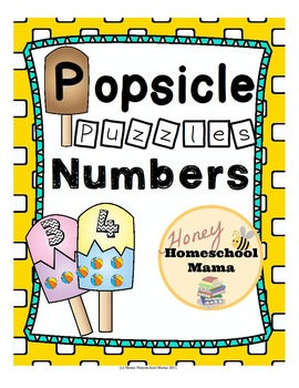 Summer Number Puzzles for Kids - 20 Two Piece Popsicle Puzzles!