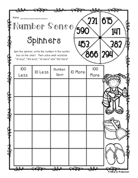 Summer Number Sense: 10 More, 10 Less, 100 More, 100 Less Spinners