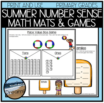 Summer Number Sense Activities and Dice Games FREEBIE