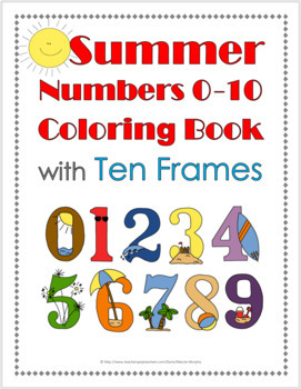 Summer Math Numbers 1-10 Coloring Book with Ten Frames - S