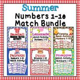 Summer Numbers 1-10 Match Activity Bundle