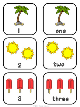 Summer Numbers 1-10 Match Game