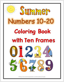 Summer Theme Numbers 11-20 Coloring Book with Ten Frames -