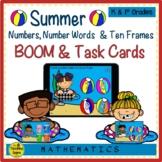 Summer Numbers, Number Words & Ten Frames BOOM & Task Cards Match Game