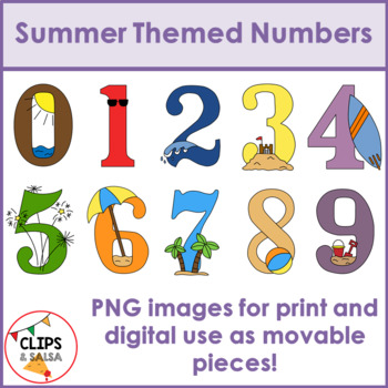 summer themed number clip art for digital paper resources by clips