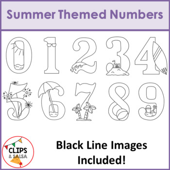 Summer Themed Number Clip Art for Digital & Paper Resources