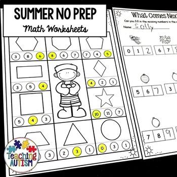 Summer Math Worksheet Activities