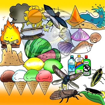 Summer Objects 44 pc. Clip-Art Set ( 22 BW and 22 Color)