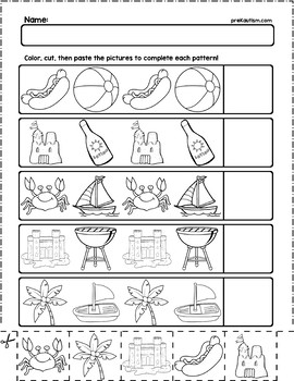 Summer Objects AB Pattern Worksheets   10 Pages