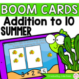 Summer Ocean Addition to 10 Math Centers | Digital Game Boom Cards