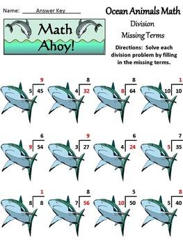 Summer Math Activities: Ocean Animals Summer Math Drills