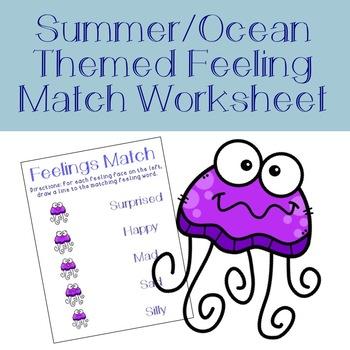 Summer/Ocean Feelings Match Worksheet: Emotional ID