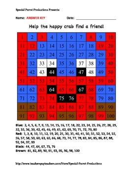Summer Ocean Life - Crab - Hundreds Chart!
