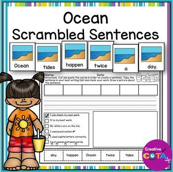 Summer Ocean Scrambled Sentence Cards and Worksheets