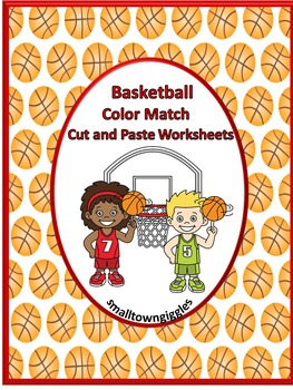 NO PREP Basketball Color Match Cut and Paste Kindergarten
