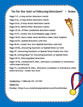 Summer Olympic Games ~ Following Directions!
