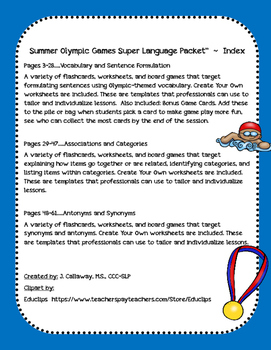 Summer Olympic Games ~ Super Language Packet!