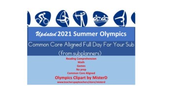 Summer Olympics 2016 - Common Core Aligned Full Day For Your Sub