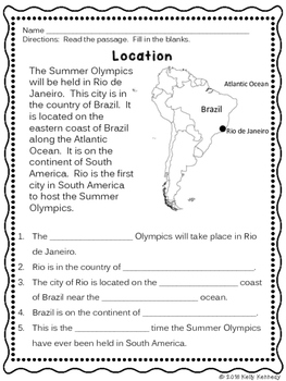 Summer Olympics 2016 Literacy and Math Unit