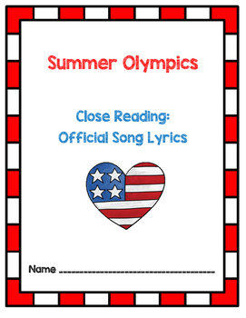 Summer Olympics 2016 - Rio - Close Reading Activity With Lyrics