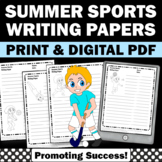 Summer Writing Papers, Sports Themed Classroom