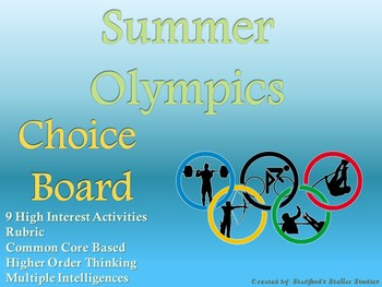 Summer Olympics 2020 Choice Board Activities Menu Project