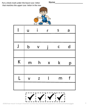 Alphabet Cut and Paste Basketball Back to School, Special Education Kindergarten