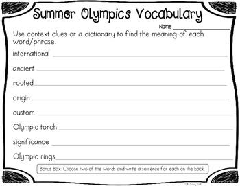 Summer Olympics Close Reading Packet
