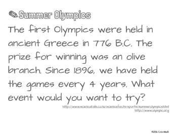 Summer Olympics Coloring Page - by Addition Fact Strategy