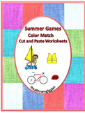 Summer Games Cut and Paste Color Match Printables Morning Work